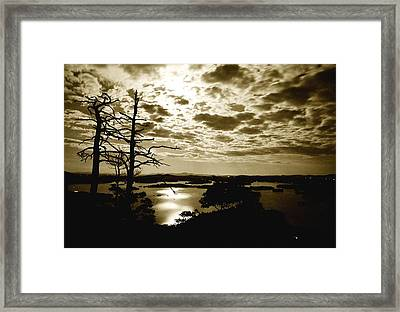 Reflection Of Moonlight On Squam Framed Print