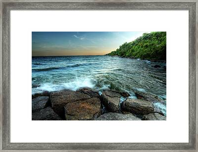 Framed Print featuring the photograph Reflection On The Rocks by Anthony Rego