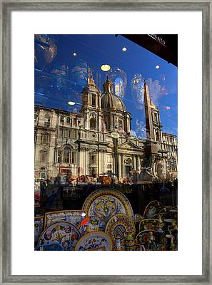 Framed Print featuring the photograph Reflection Piazza Navona by Caroline Stella