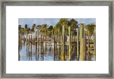 Reflections At Fort Pierce Framed Print by Trish Tritz