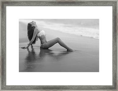 Reflections In Wet Sand Framed Print by Rick Berk