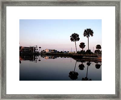 Reflections Of Keaton Beach Marina Framed Print by Marilyn Holkham