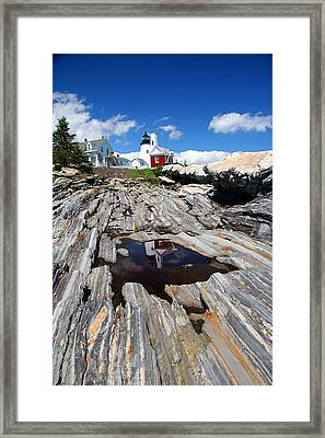Reflections Of Pemaquid Framed Print by Brenda Giasson