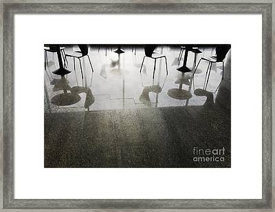 Reflections Of Tables And Chairs On Shiny Floor Framed Print