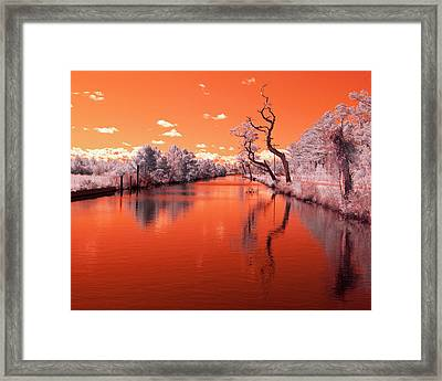Reflections On Canal In Infra Red Framed Print by Jackie Briggs
