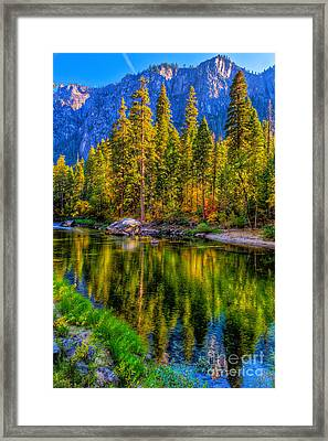 Reflections On The Merced River Yosemite National Park Framed Print
