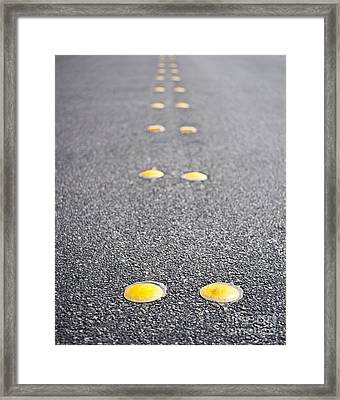 Reflective Roadway Divider Bumps Framed Print by Thom Gourley/Flatbread Images, LLC