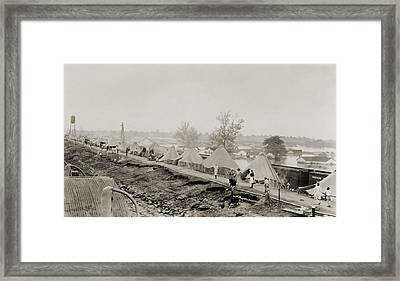 Refugees At A Tent City On The Levee Framed Print by Everett