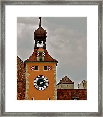 Regensburg Clock Tower Framed Print by Kirsten Giving