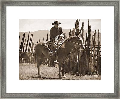 Relaxed In The Saddle Framed Print by Megan Chambers