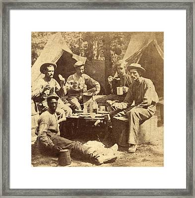 Relaxed Scene Of Soldiers From The Army Framed Print by Everett