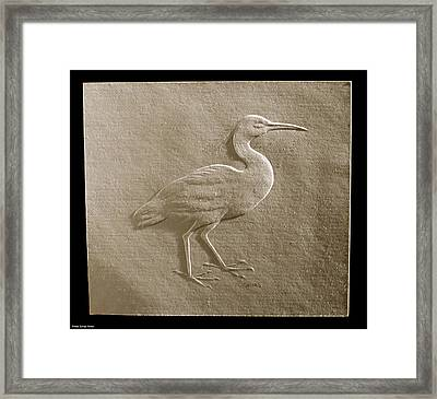 Relief Bird On Paper Framed Print by Suhas Tavkar