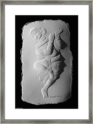 Relief Flute Player Framed Print by Suhas Tavkar