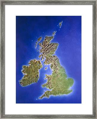Relief Map Of The United Kingdom And Eire Framed Print
