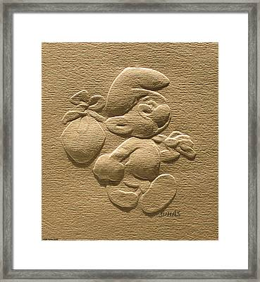 Relief Smurf On Paper  Framed Print
