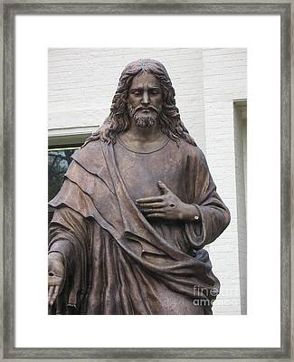 Religious Jesus Statue - Christian Art Framed Print by Kathy Fornal