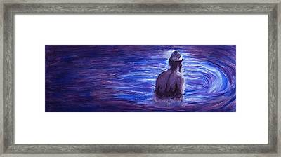 Framed Print featuring the painting Religious Nude Male Dipping In Mikveh Baptism In Swirling Water Pool In Purple Blue  by M Zimmerman