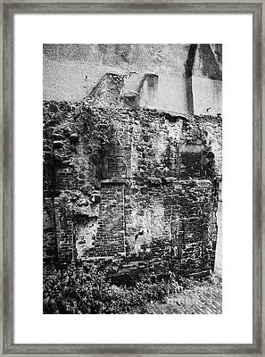 Remains Of An Old Historic House With Multiple Fireplaces In The Wall Of The Old Town Aberdeen Scotl Framed Print by Joe Fox