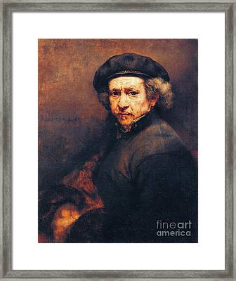 Rembrandt Self Portrait Framed Print by Pg Reproductions