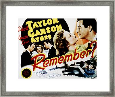 Remember, Lew Ayres, Greer Garson Framed Print by Everett