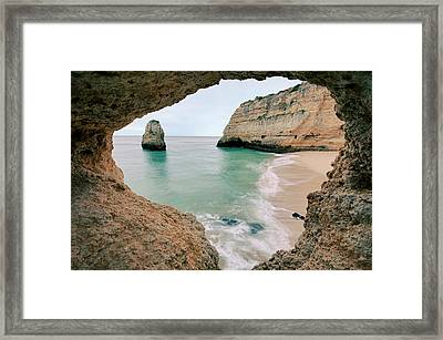 Remote Beach In Lagoa, Portugal Framed Print