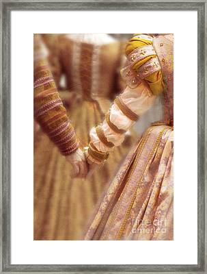Renaissance Couple Holding Hands Framed Print
