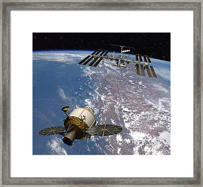 Rendering Of The Orion Space Capsule Framed Print by Lockheed Martin