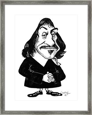 Rene Descartes, Caricature Framed Print by Gary Brown