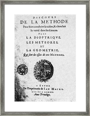 Rene Descartes Discourse On Method Framed Print by Science Source