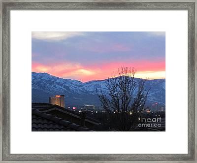 Reno At Night Framed Print by Phyllis Kaltenbach