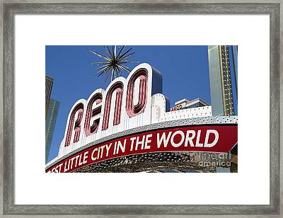 Reno . The Biggest Little City In The World Framed Print by Wingsdomain Art and Photography