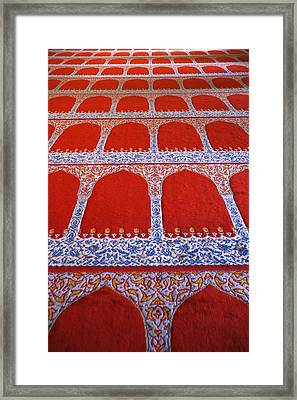 Repeating Pattern On Red Carpet Framed Print by Carson Ganci