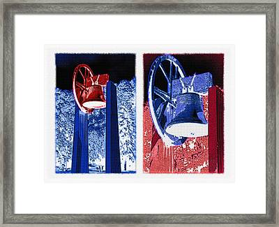 Replica Of Liberty Bell - Americana Rwb Diptych - Inverted Framed Print by Steve Ohlsen
