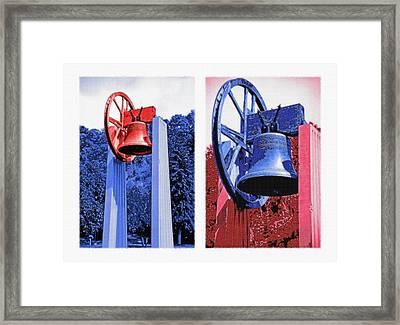 Replica Of Liberty Bell - Americana Rwb Diptych Framed Print by Steve Ohlsen