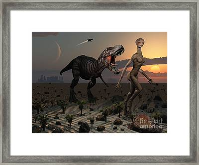 Reptoids Tame Dinosaurs Using Telepathy Framed Print by Mark Stevenson