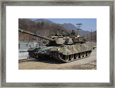 Republic Of Korea Army Soldiers Sit Framed Print