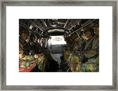 Republic Of Korea Marines Sit Ready Framed Print by Stocktrek Images