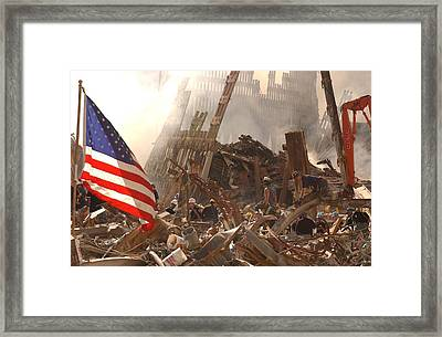 Rescue Workers Climb Over And Dig Framed Print by Everett