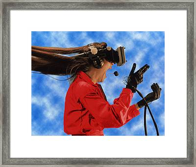 Researcher Wearing Virtual Reality Headset Framed Print by Nasa