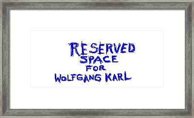 Reserved Space Framed Print by Jerry Conner