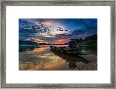 Rest Time Wood Boat Framed Print by Arthit Somsakul
