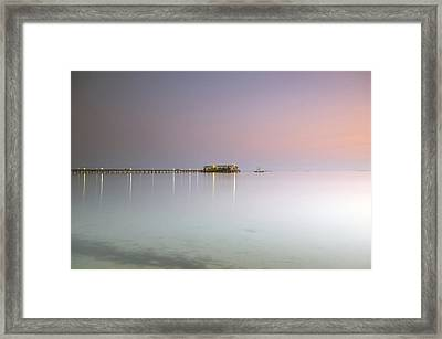 Restaurant At Seaside Framed Print by Bachmont