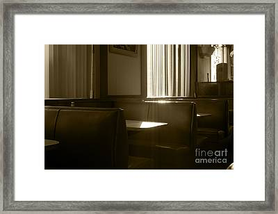 Restaurant Booth With Streaming Sunlight In Sepia Framed Print