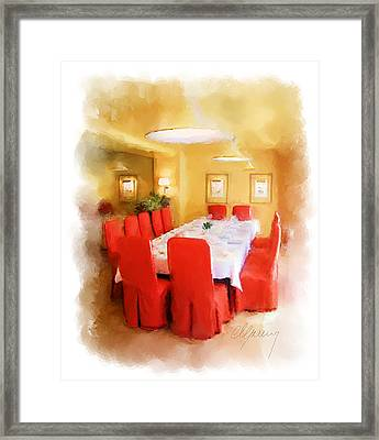 Restaurant Interior Menu Cover  Framed Print by Michael Greenaway
