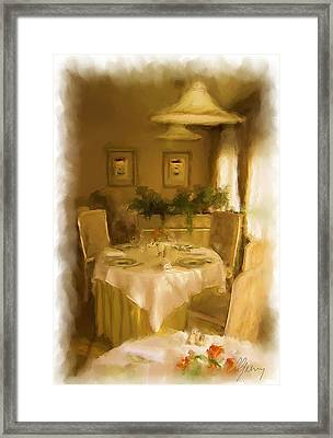 Restaurant Javron Les Chapelles Framed Print by Michael Greenaway