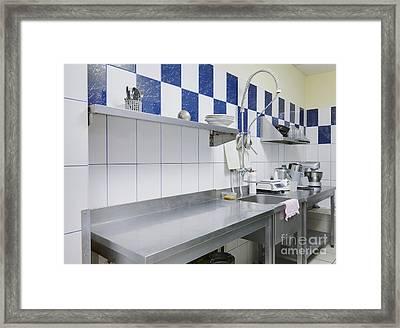 Restaurant Kitchen Sink And Counters Framed Print by Magomed Magomedagaev