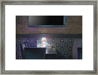 Restaurant Table With Lamp Under Tv Framed Print by Magomed Magomedagaev