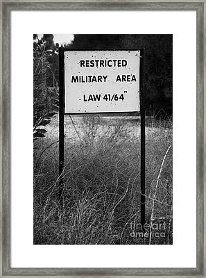 restricted military area at the greek cypriot border post at the UN buffer zone cyprus green line Framed Print by Joe Fox