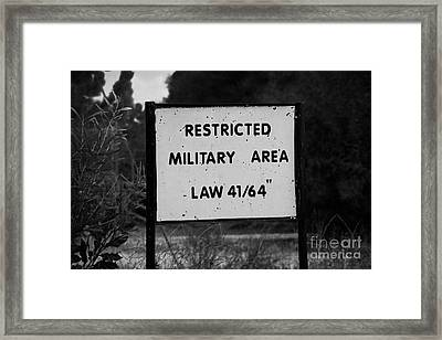 restricted military area at the greek cypriot border post at the UN buffer zone in the green line Framed Print by Joe Fox