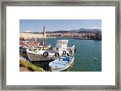 Rethymnon Harbour In Crete  Framed Print by Paul Cowan